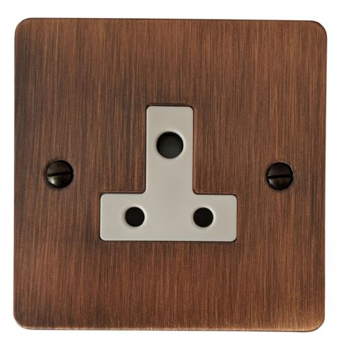 G&H FAC59W Flat Plate Antique Copper 1 Gang Single 5 Amp Plug Socket